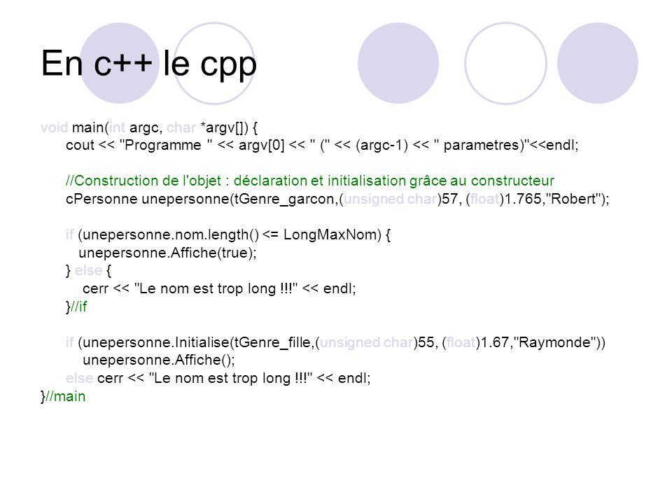 En c++ le cpp void main(int argc, char *argv[]) {